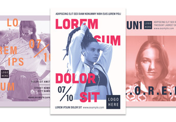 Graphic Poster Layout Set with Photographic Elements