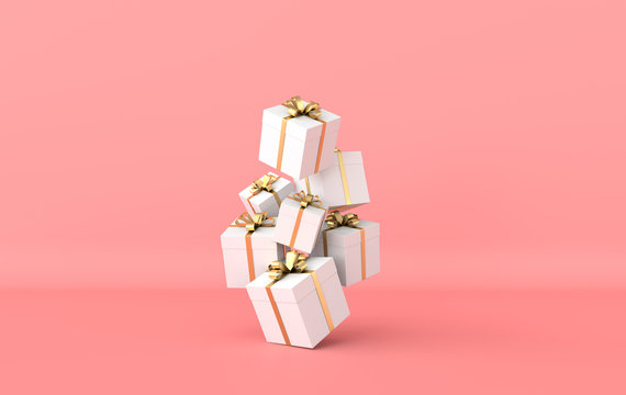 3d rendering of realistic white gift box with golden ribbon bow on pink studio background. Empty space for party, promotion social media banners, posters.