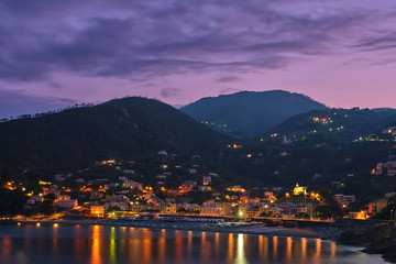 Night city of Bonassola La Spezia, Italy. The picture was taken on a long exposure.