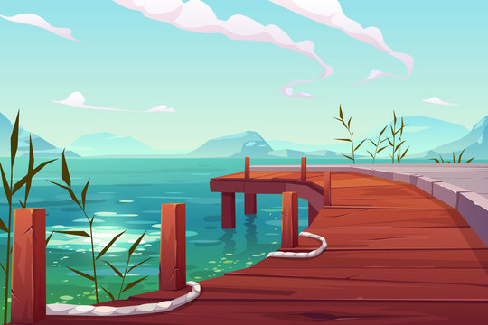 Wooden pier on river natural landscape, wharf with ropes and reed growing in water on picturesque lake background with mountains view. Cartoon vector illustration