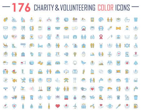 Charity and volunteering color icons big set. Fundraising, philanthropy, humanitarian help, human care. Social responsibility, charitable organization, social welfare. Isolated vector illustrations
