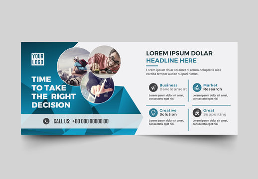 Corporate Banner Layout with Blue Abstract Elements