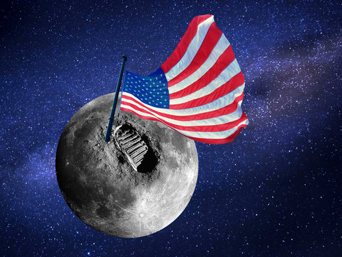 Big footprint or step and usa flag on Moon surface in the universe. Elements of the Image kindly provided by NASA.