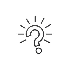 Outline question mark with rays burst icon vector illustration on white background