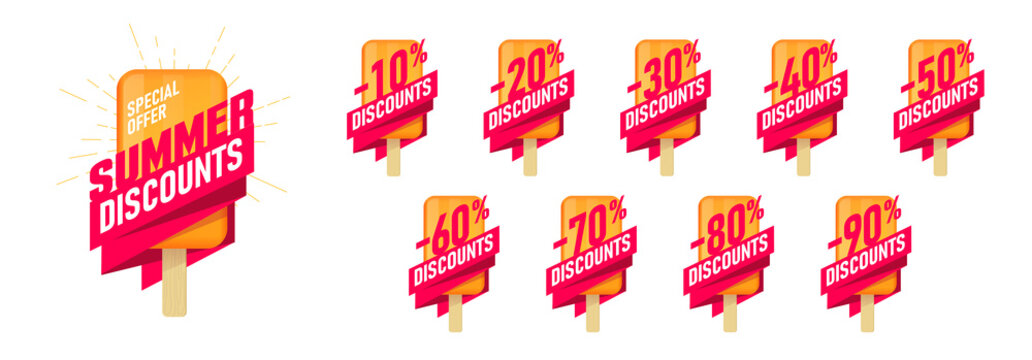 Special offer summer sale Advertising labels set with icecream design element and typography, tags up to 10 - 90 percent