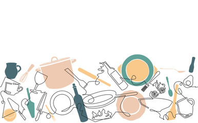 Cooking. Background with Utensils and Food. Seamless Culinary Horizontal Pattern.
