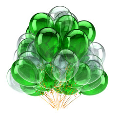 Balloons baloons ballons big bunch green white. Party event icon