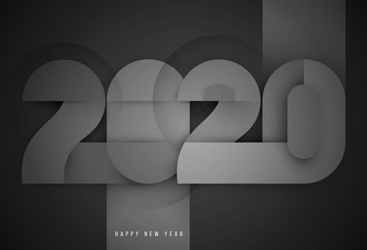 Vector geometric number 2020 in modern layout paper cut 3d style. Happy new year design concept. Minimalistic trendy illustration for branding banner, cover, poster, card.