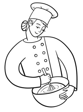 Happy female cook holds a cooking utensil and a whisk. Pastry-cook in chef uniform and cap at work. Vector outline illustration drawings on a white background