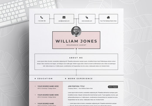 Resume and Cover Letter Layout with Pink Accents