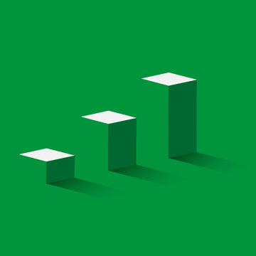 Green 3d stairs - business concept of goals. Steps to success. Vector