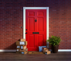 Residential front door with stacks of boxes from online purchases