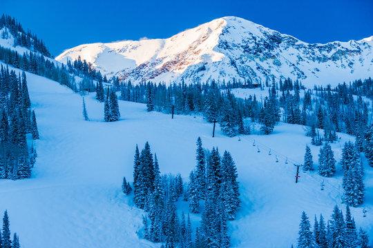 Ski trails in Snowbird, Utah, USA