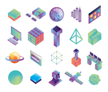 bundle of virtual reality technology icons
