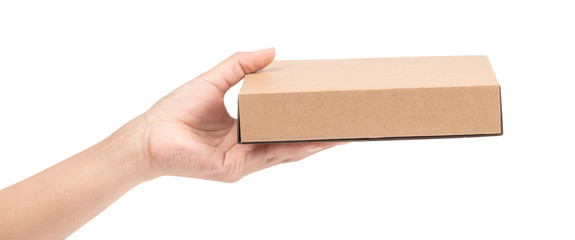 hand holding brown paper box package isolated on white background