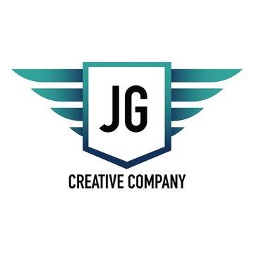 Initial Letter JG Logo Shield Element Template Design Logos