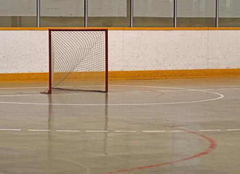 A Lacrosse net sitting in an empty box.