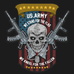 AMERICA US ARMY. SKULL USA AMERICAN SOLDIER WITH WEAPON AND USA FLAG VECTOR EDITABLE LAYERS