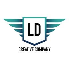 Obraz Initial Letter LD Logo Shield Element Template Design Logos - fototapety do salonu