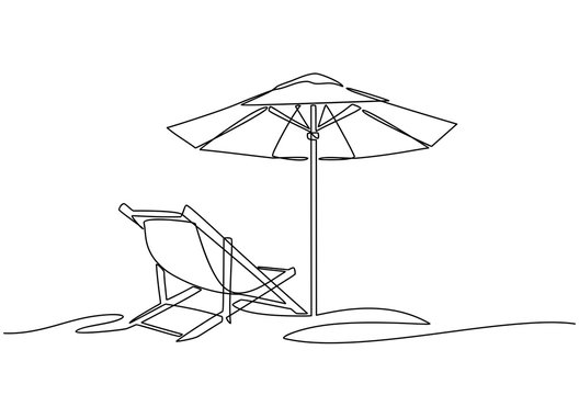 Continuous line drawing of beach umbrella and chairs. summer vacation concept. Coast of the sea, umbrella, chaise longue. Summer background illustration for beach holiday isolated on white background.