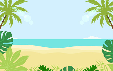 Scene of green tropical leaves with beach and sea. Summer concept banner template. Flat design vector illustration. Fototapete
