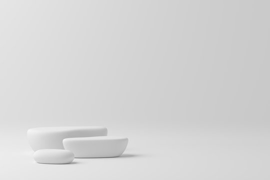 3d render abstract mock up scene. white podium and white background for product.