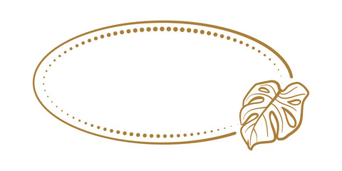 Vector horizontal oval dotted frame with monstera leaf decoration