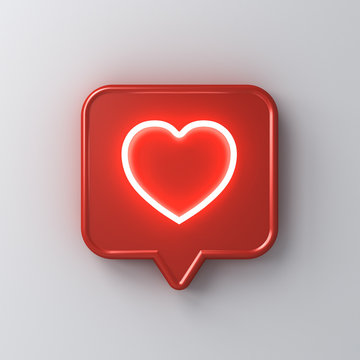 3d social media notification neon light love like heart icon in red rounded square pin isolated on white wall background with shadow 3D rendering