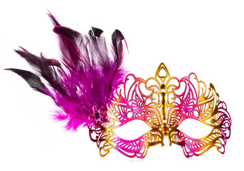 beautiful of carnival mask with feather isolated on a white background.