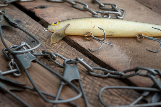old fishing lure and stringer