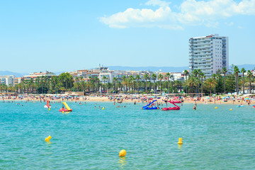 In de dag Lichtblauw View of the Llevant Beach in Salou, Spain.