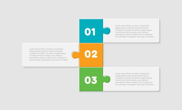 Three pieces puzzle rectangles line info graphic.