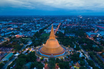 Aerial view of Beautiful Gloden pagoda at sunset. Phra Pathom Chedi temple in Nakhon Pathom Province Thailand.