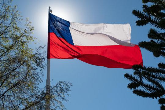 Bandera de Chle flameando al viento
