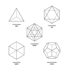 Platonic solids on white background. Editable Original stoke vector (non expanded outline). Philosophy, spirituality, alchemy, religion, symbols and elements. - fototapety na wymiar