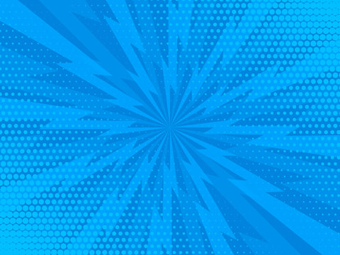 Comic rays blue dots background. Vector illustration in pop art style