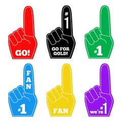 Foam finger fan hand glove . We are number 1. Vector