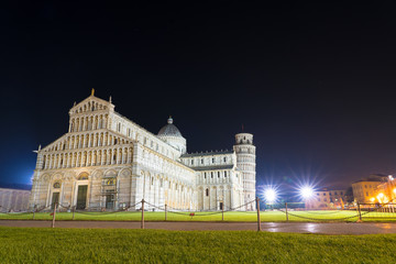 Pisa Cathedral and leaning tower of Pisa Italy at night