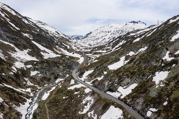 Aerial view of the gotthard pass road linking Ticino and Uri and the Swiss alps