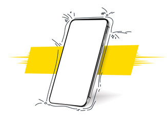 Fototapeta Smartphone frameless blank screen, rotated position. 3d isometric illustration cell phone. Smartphone perspective view. Template for infographics, presentation  business card, flyer, brochure, poster obraz