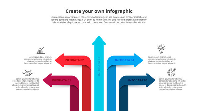 Five arrows infographic elements. Business template for presentation. Vector concept with 5 options or steps.