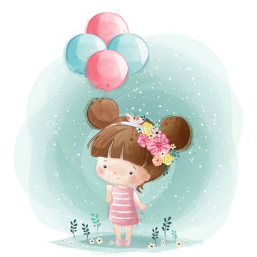 Cute Little Girl Holding Balloons