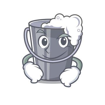 Smirking soapy water in a cartoon bucket