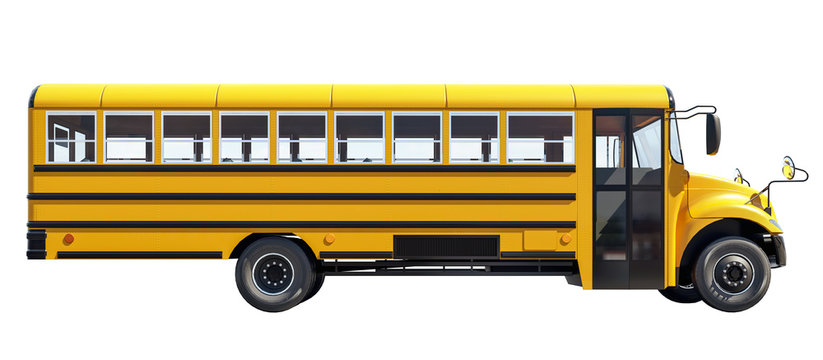 School bus isolated on white background,  concept of going back to school, beautiful sunny day, 3d rendering