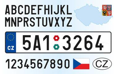Fototapeta Czech Republic car license plate, letters, numbers and symbols, vector illusttration, European Union obraz