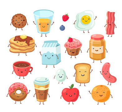 Breakfast food characters. Funny cartoon lunch apple eggs toast cake salt. Tasty breakfast comic friends vector set. Illustration of lunch, toast and coffee, bread and bacon