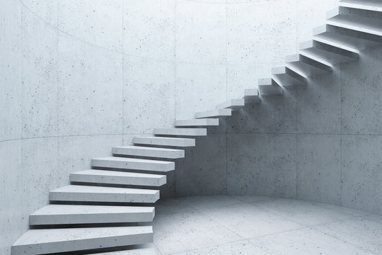 modern staircase in concrete interior, 3d rendering