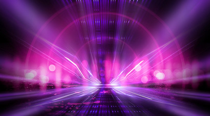Empty stage, blue neon, abstract blue background. Rays of searchlights, light, abstract tunnel, corridor. Wall mural
