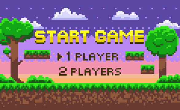 Start game page decoration by trees and bushes, grass and underground view, cloudy sky and steps, 1 player or 2 players choosing, pixel screen vector. Pixelated 8 bit video-game