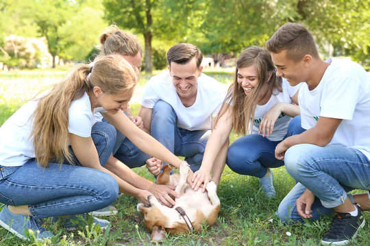 Group of volunteers with cute dog outdoors